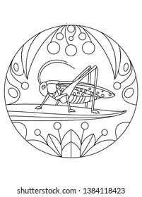 Grasshopper pattern. Illustration with a insect. Mandala with an animal.  Grasshopper in a circular frame. Coloring page for kids and adults.