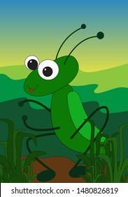 A Grasshopper roaming around when night falls.