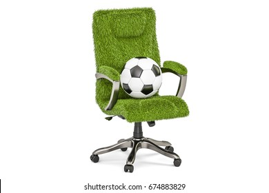 Grassy office chair with soccer ball concept, 3D rendering isolated on white background