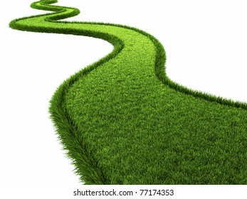 Grassy road isolated on white background, 3d render