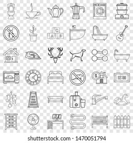 Grater icons set. Outline style of 36 grater icons for web for any design