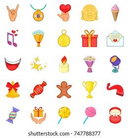 Gratification icons set. Cartoon set of 25 gratification  icons for web isolated on white background