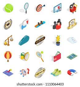 Gratification icons set. Isometric set of 25 gratification icons for web isolated on white background