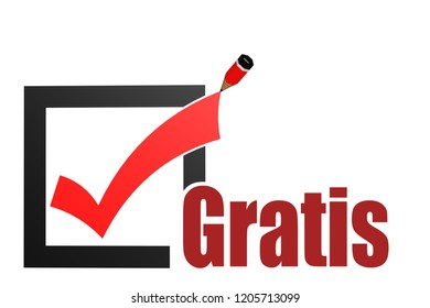 Gratis word with check mark and pencil, 3D rendering