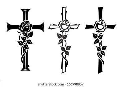grave cross with rose for funerary decoration