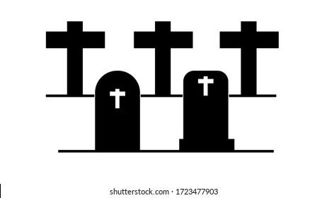 Grave icon flat. Illustration isolated