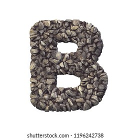 Gravel letter B - Capital 3d crushed rock font isolated on white background. Perfect alphabet for creative illustrations related but not limited to nature, building materials, real estate...