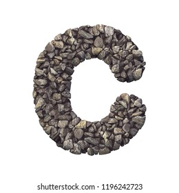 Gravel letter C - Capital 3d crushed rock font isolated on white background. Perfect alphabet for creative illustrations related but not limited to nature, building materials, real estate...