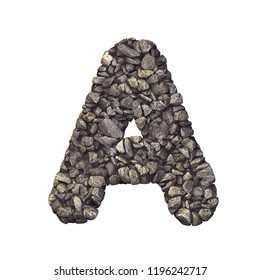 Gravel letter A - Capital 3d crushed rock font isolated on white background.Perfect alphabet for creative illustrations related but not limited to nature, building materials, real estate...
