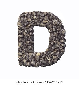 Gravel letter D - Capital 3d crushed rock font isolated on white background. Perfect alphabet for creative illustrations related but not limited to nature, building materials, real estate...