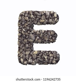 Gravel letter E - Capital 3d crushed rock font isolated on white background. Perfect alphabet for creative illustrations related but not limited to nature, building materials, real estate...