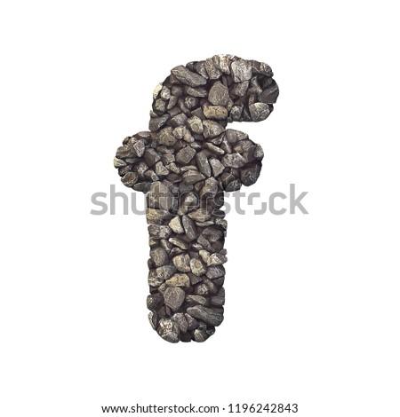 Gravel Letter F Small 3 D Crushed Stock Illustration