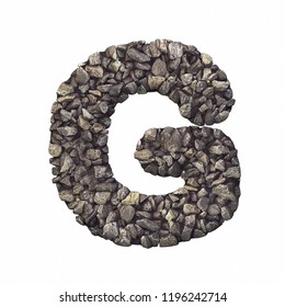 Gravel letter G - Upper-case 3d crushed rock font isolated on white background. Perfect alphabet for creative illustrations related but not limited to nature, building materials, real estate...