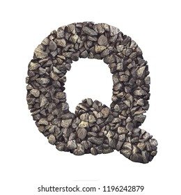Gravel letter Q - Upper-case 3d crushed rock font isolated on white background. Perfect alphabet for creative illustrations related but not limited to nature, building materials, real estate...