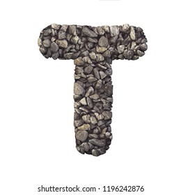 Gravel letter T - Uppercase 3d crushed rock font isolated on white background. Perfect alphabet for creative illustrations related but not limited to nature, building materials, real estate...
