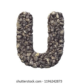 Gravel letter U - Capital 3d crushed rock font isolated on white background. Perfect alphabet for creative illustrations related but not limited to nature, building materials, real estate...