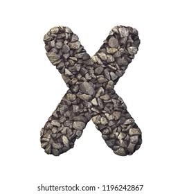 Gravel letter X - Upper-case 3d crushed rock font isolated on white background. Perfect alphabet for creative illustrations related but not limited to nature, building materials, real estate...
