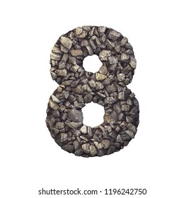 Gravel number 8 - 3d crushed rock digit isolated on white background. Perfect alphabet for creative illustrations related but not limited to nature, building materials, real estate...