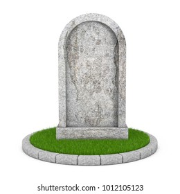 Gravestone with Blank Space fot Yours Sign on a white background. 3d Rendering