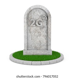 Gravestone with RIP 2G Cellular Technology Sign on a white background. 3d Rendering