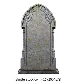 Gravestone tomb 3D illustration on the white background