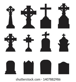 Gravestones and tombstones icons set isolated on white background