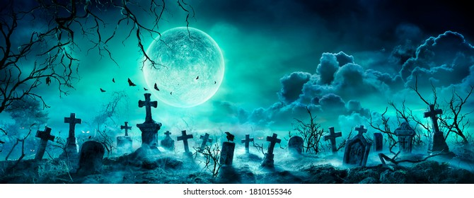 Graveyard At Night - Spooky Cemetery With Moon In Cloudy Sky And Bats - Contain 3d Illustration