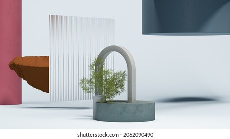 Gray arc and round blue podium display on white background with small plant, glass, stone and geometric figures. Minimal design. Copy space. Empty space. Magic realism. 3d rendering