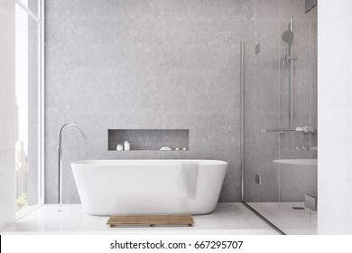 Gray bathroom interior with white tiles used as a decoration element. There is a white tub, a shower with a glass door and a large window. 3d rendering mock up