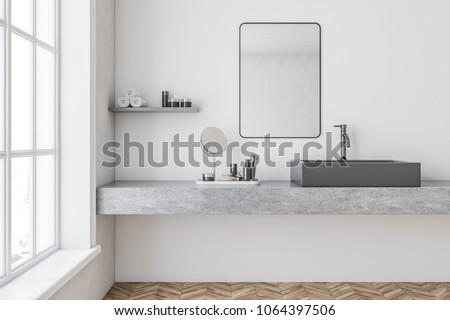 Gray Bathroom Sink Mirror Hanging Above Stockillustration 1064397506