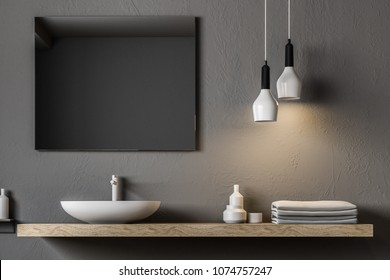 Gray bathroom sink standing on a wooden shelf. A square mirror hanging on a gray wall. A close up. 3d rendering