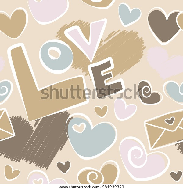 Gray and beige heart, letter and love text seamless pattern.