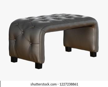 Gray bench capitone 3d rendering