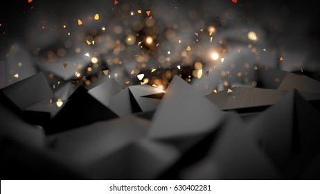 Gray, black background with glitter. 3d image, 3d rendering.