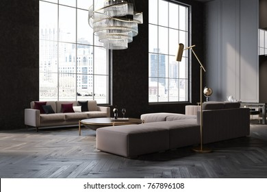 Gray and black living room corner with a gray sofa and armchair, large windows and a wooden floor. 3d rendering mock up