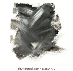 Gray or black watercolor acrylic paint stain isolated on white background. Dynamic Brush Stroke. Art Abstract Space for Text or logo. Concept for stickers, banners, cards, advertisement