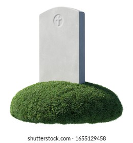 Gray blank gravestone on green grass islet under bright sunlight isolated on white background, memorial day sign, 3D illustration.