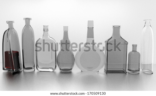 gray bottles in a row, 3D illustration over a gray background