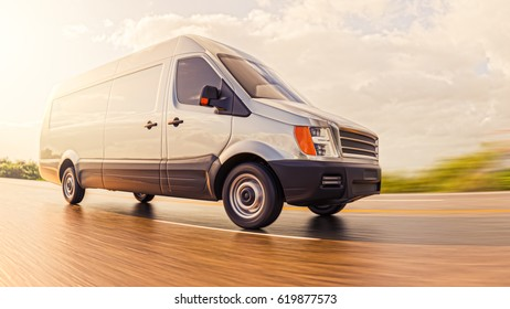 Gray Commercial Van on Countryside Road at Sunny Day Motion Blurred Fish Eye lens 3d Illustration Background