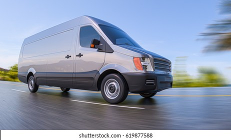 Gray Commercial Van on Highway Motion Blurred Fisheye lens 3d Illustration Background