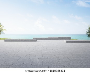 Gray concrete bench on empty outdoor terrace near garden in modern city park. Plaza 3d rendering with beach and sea view.