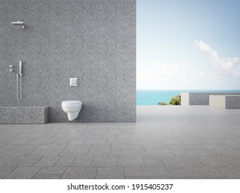 Gray concrete wall with outdoor shower. 3d rendering of luxury sea view sanitary ware store showroom.