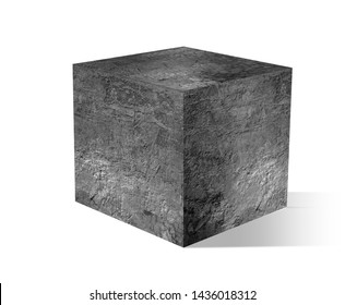 gray cube with cement on white backgrounds.3D illustration