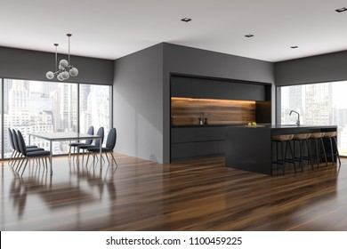 Gray dining room and kitchen corner with panoramic windows, a table with dark chairs near it and countertops. A city view. 3d rendering mock up