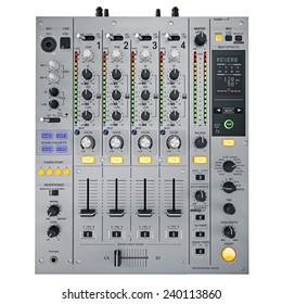 Gray DJ mixer on a white background