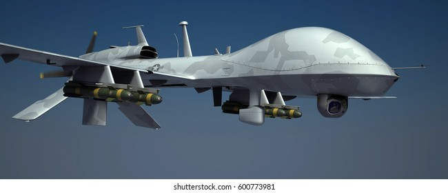Gray Eagle military drone aircraft flying high in the sky. Armored with hellfire missiles. Gray camouflage. 3d render.