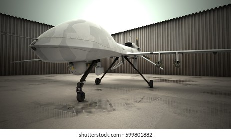 Gray Eagle military drone armored with missiles. On the wet backyard of airbase. 3d render.
