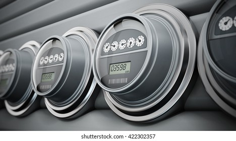 Gray electric meters standing in a row. 3D illustration.