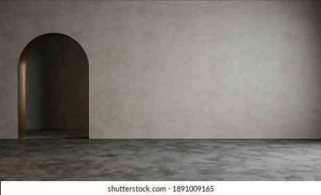 Gray empty interior with blank wall, arc and concrete floor. 3d render illustration mock up.
