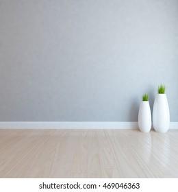 gray empty interior with vases. 3d illustration